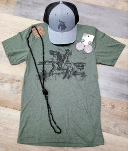 Fall Into Western Olive Tee