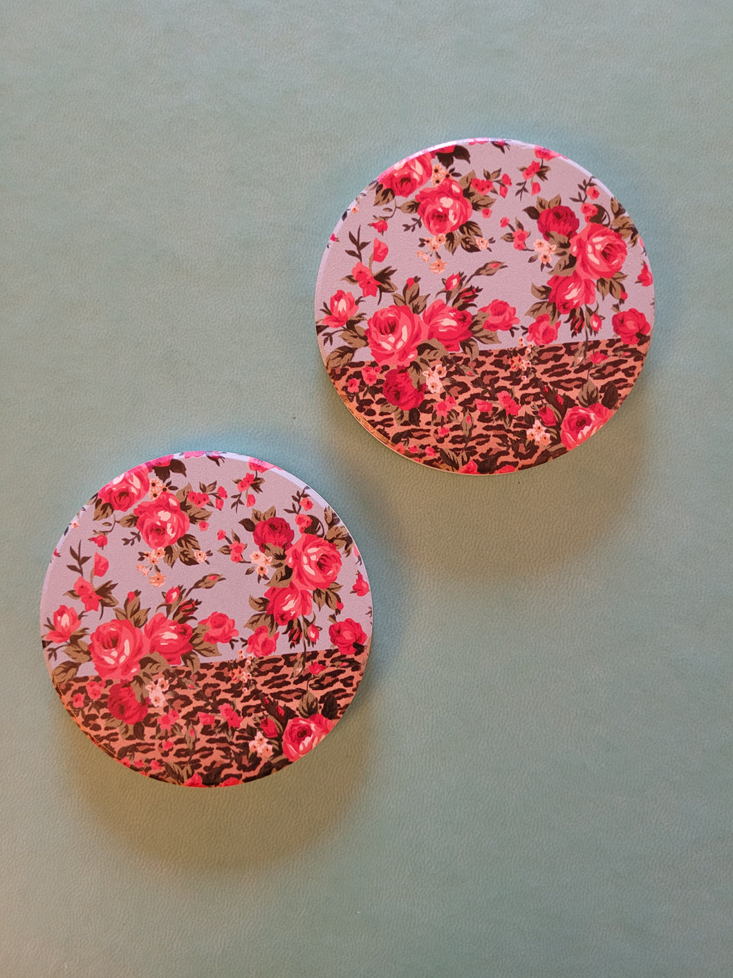 Roses, Leopard & Blue Car Coaster Set