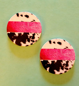Pretty in Pink Cowprint Car Coaster Set