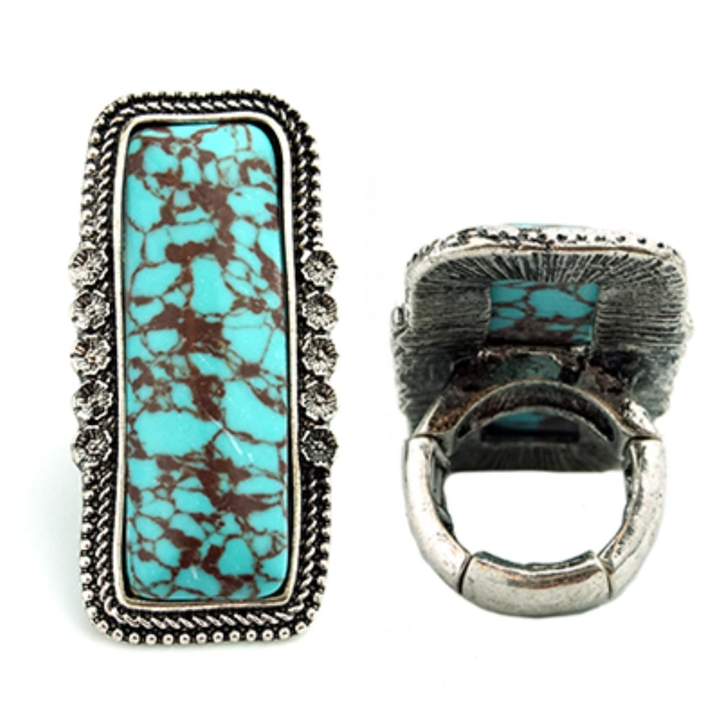 Distressed Turquoise Stretch Ring