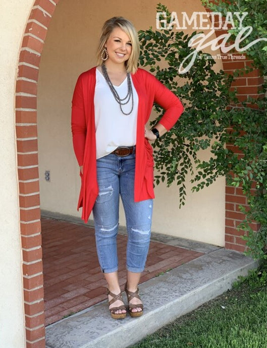 Solid Red Cardigan