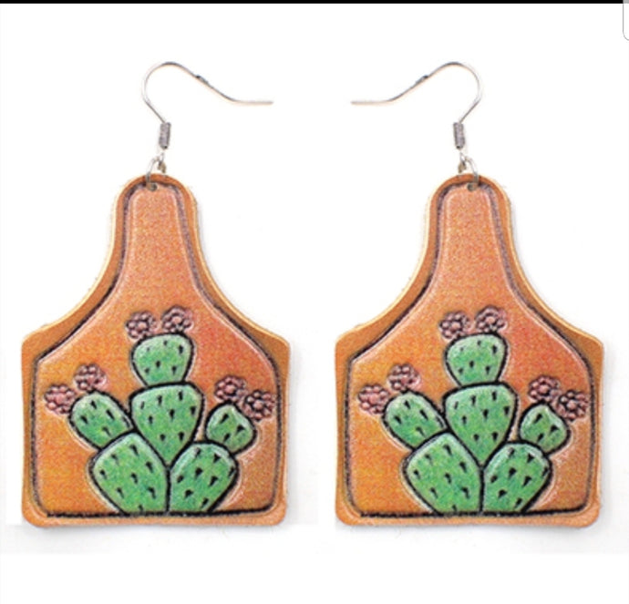 Cattle Tag Cactus Rose Earings