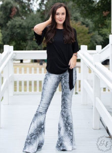 Snakeskin Flare Pants, Grey