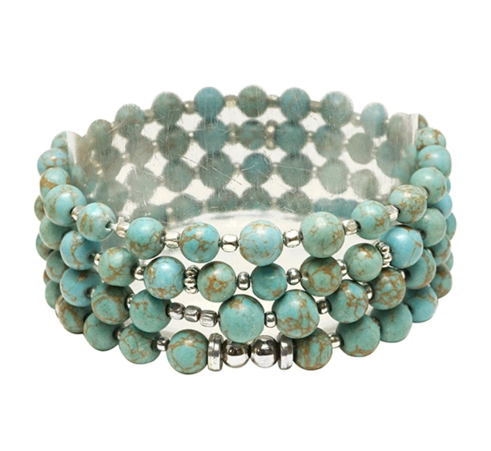 Turquoise Bead Stretch Bracelets