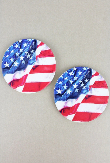2 Piece American Flag Car Coaster Set