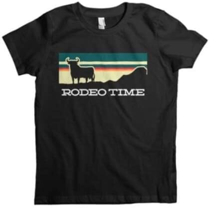 Dale Brisby Sunset rodeo time kids tee