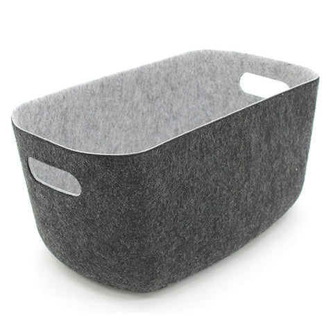2 Tone Felt Rectangular Basket with Cut Out Handle