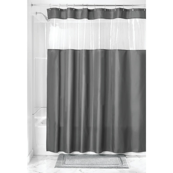 Poly View Shower Curtain | Charcoal/Clear