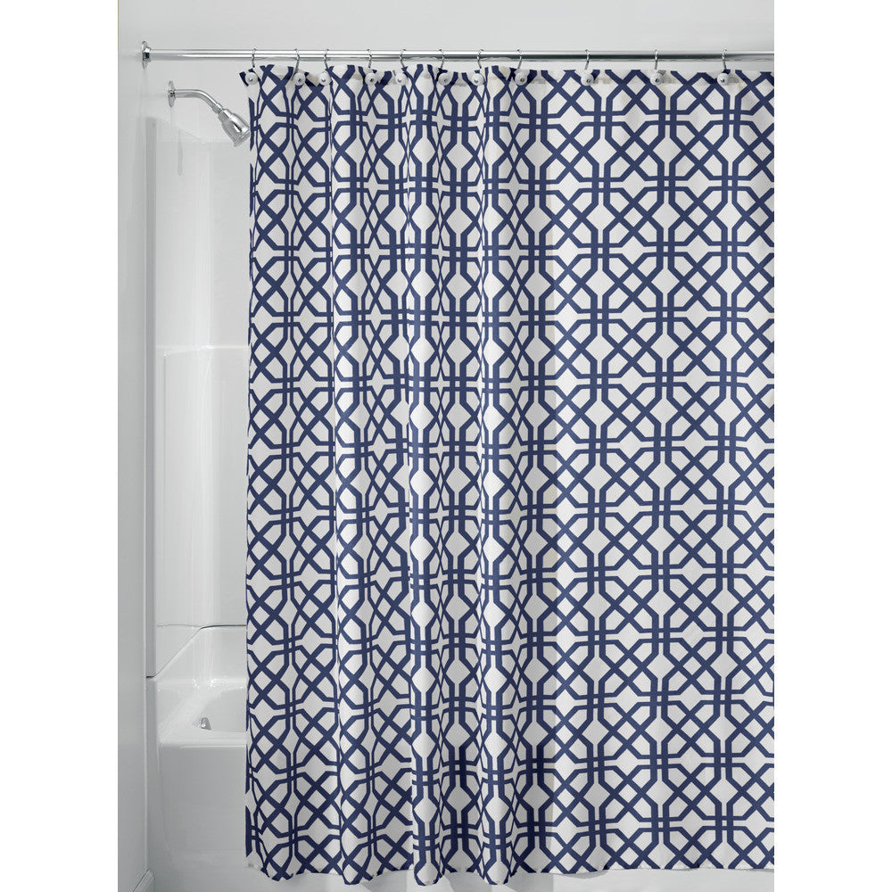 Trellis Shower Curtain | Navy & White