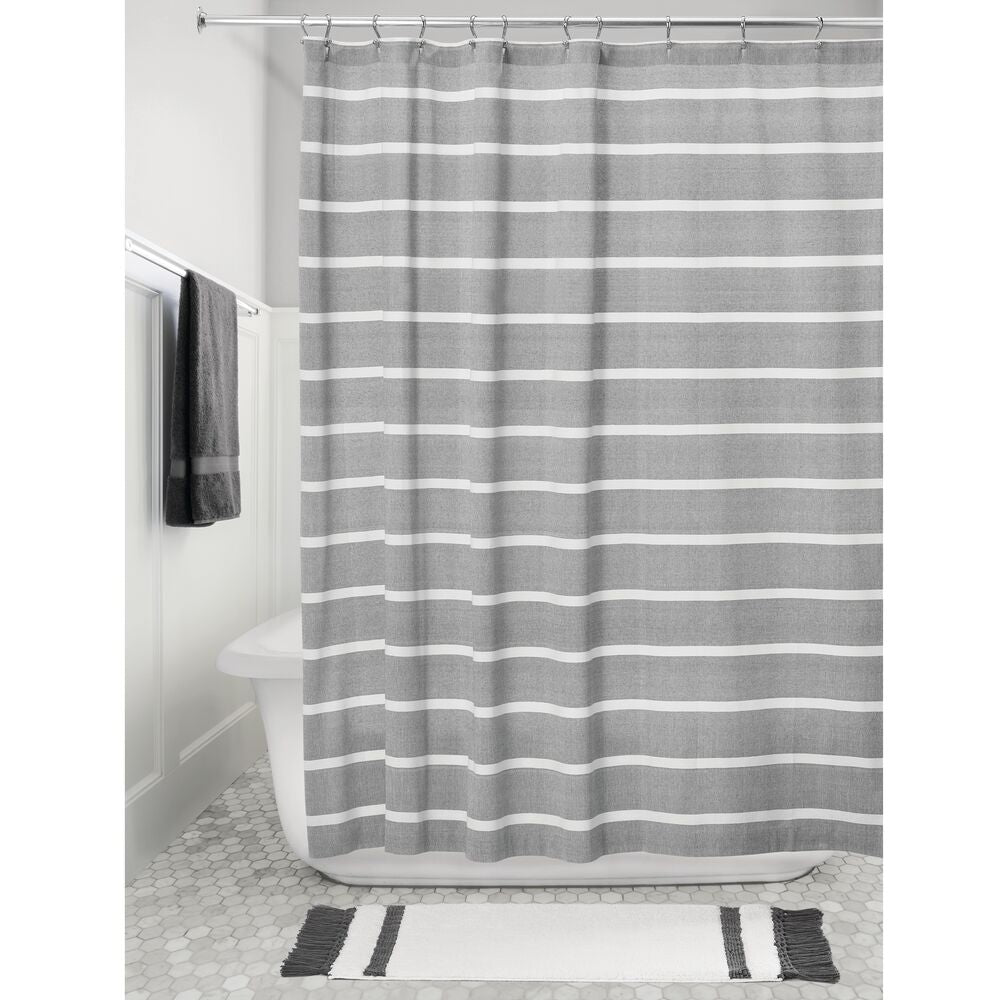 Thin Stripe Shower Curtain Charcoal/White