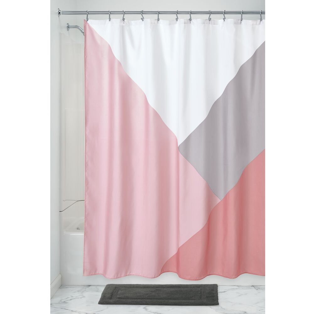 Colorblock Shower Curtain Blush