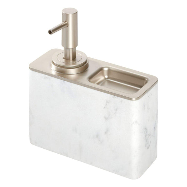 Dakota Soap Pump w/ Ring Tray White Marble/Matte Satin