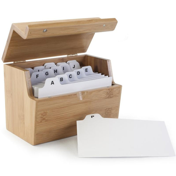 Bamboo Recipe Card Box
