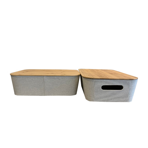 Storage Beige Bin with Bamboo Lid