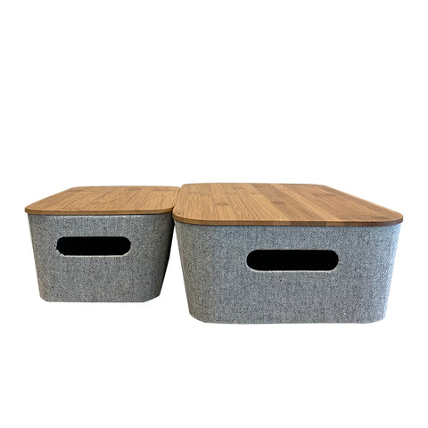 Storage Grey Bin with Bamboo Lid