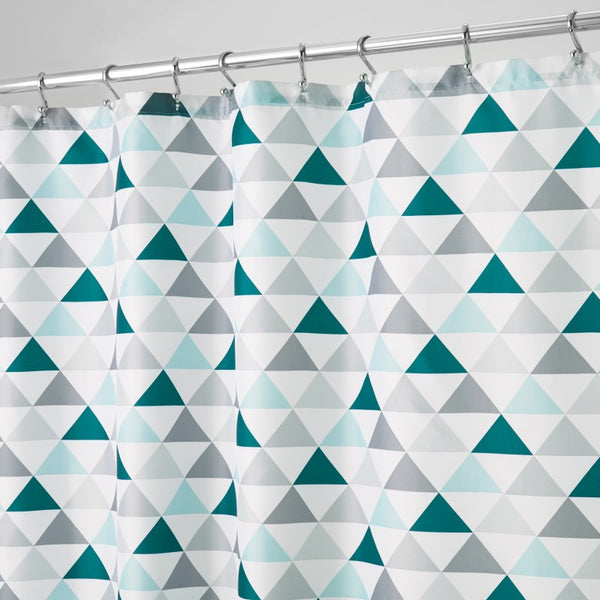 Triangles Shower Curtain | Deep Teal & Mint