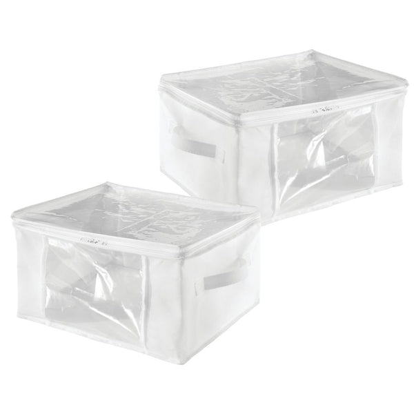 Storage Zipper Bag - Medium (set of 2) White/Clear