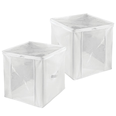 Storage Zipper Cube (Set of 2) White/Clear