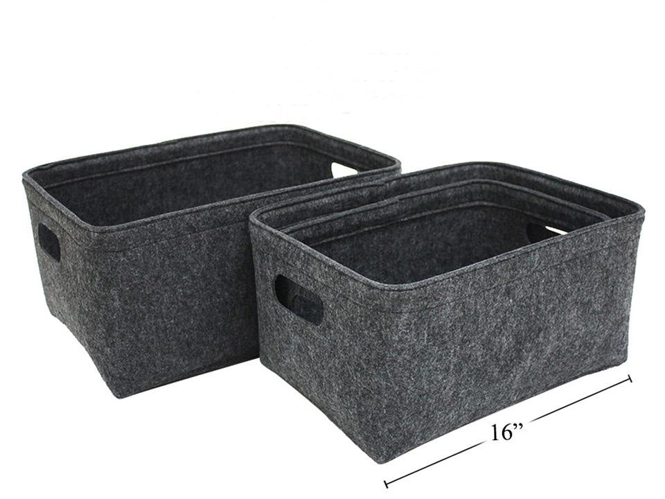 Rectangular Felt Storage Basket w/ Handles