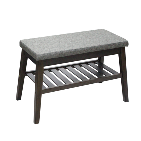 Short Fabric Wooden Bench with Storage