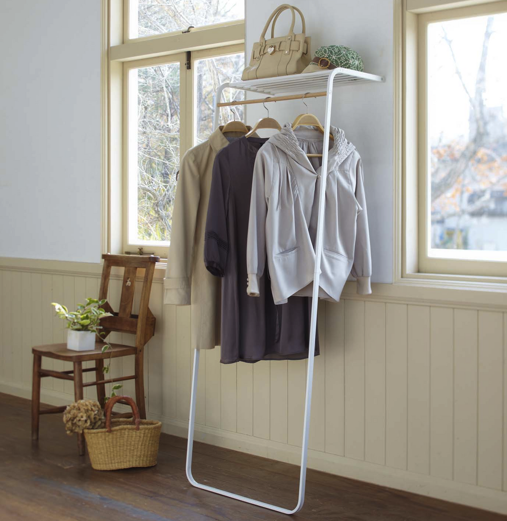 TOWER Leaning Shelf with Coat Hanger
