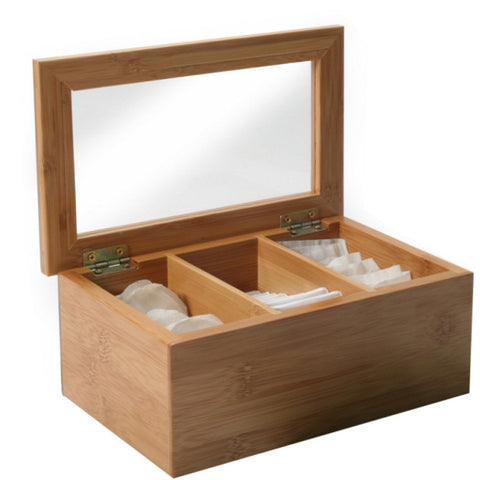 Bamboo 3 Section Tea Storage Box