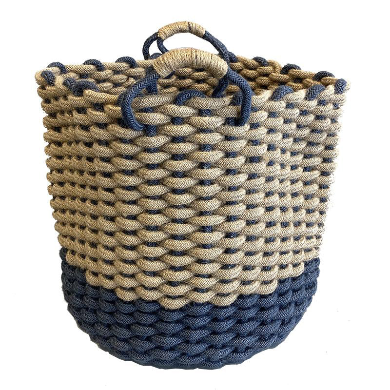 Chunky Jute Woven Storage Basket Blue/Natural