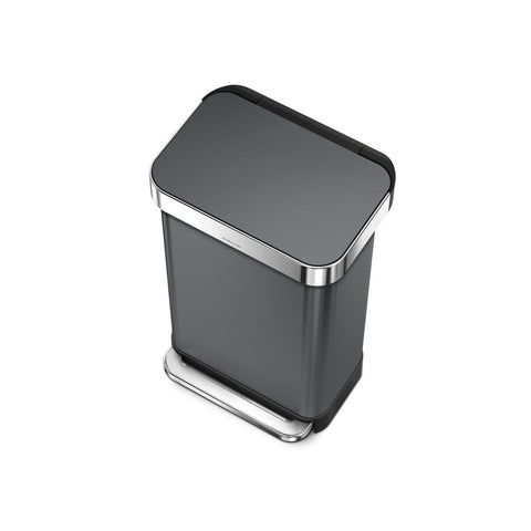 45L Liner Rim Rectangular Step Can - Black Steel