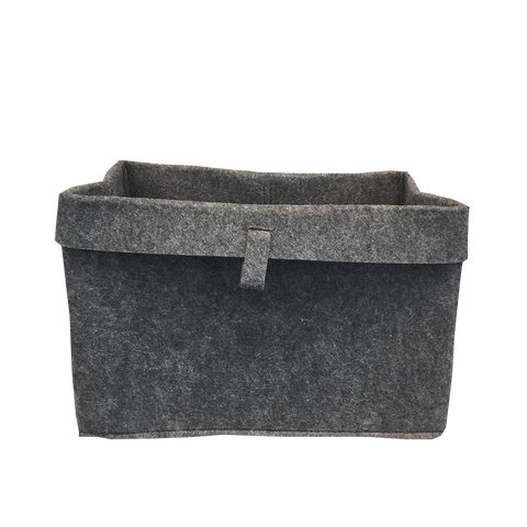 Folded Edge Felt Basket Dark Grey