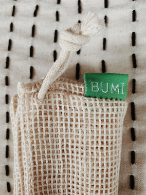 Reuseable Mesh Produce Bag - Organic Cotton 3-Pack - Bumi Box