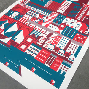 Building cities, print