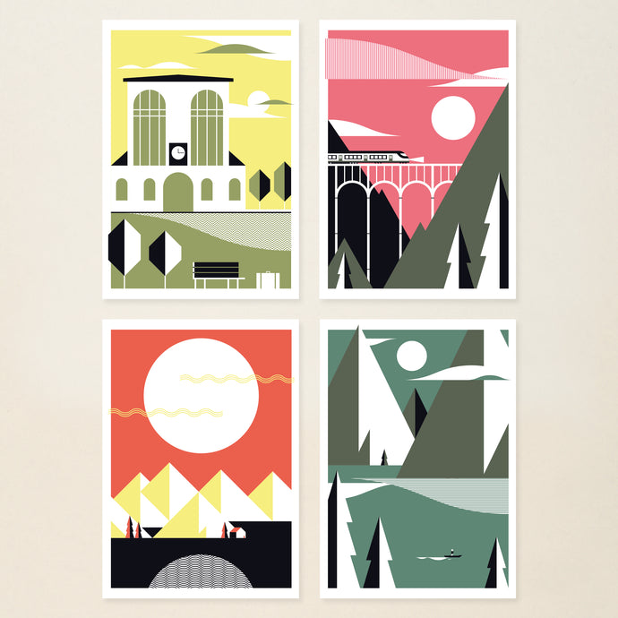 serie of 4 little prints - postcards