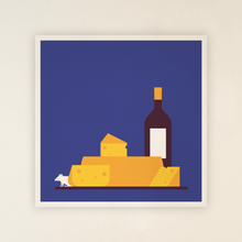 Load image into Gallery viewer, Postcard - Cheese and wine, including envelops