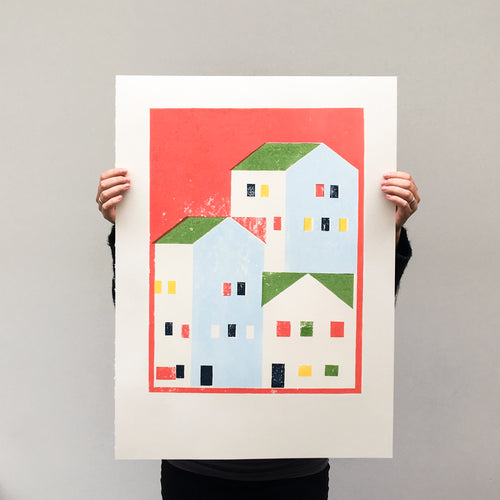 Urban city - print red