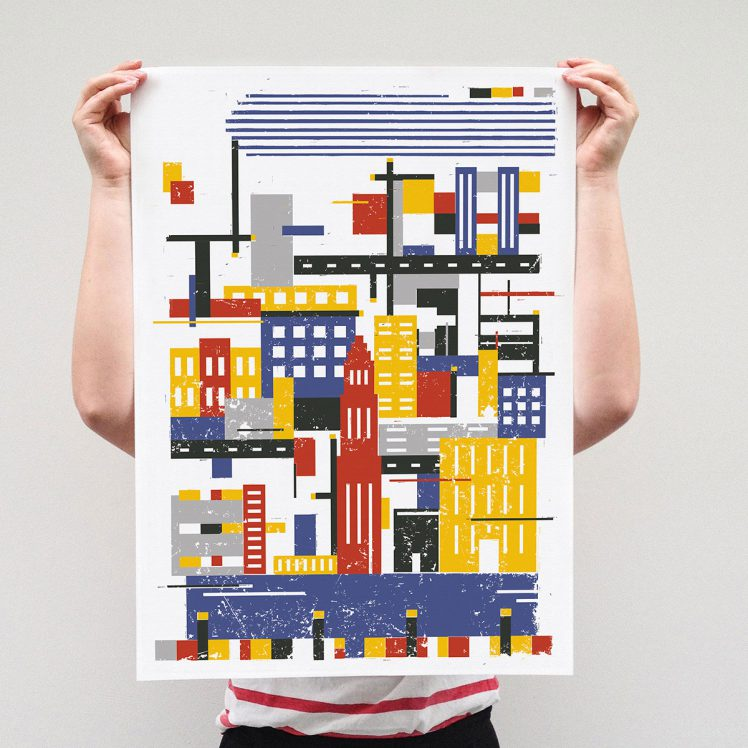 Rectangle city - Linoprint