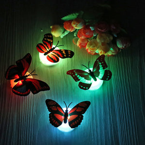 Night Light Colorful Changing Butterfly LED Lamp - Stick-On Butterfly Lights