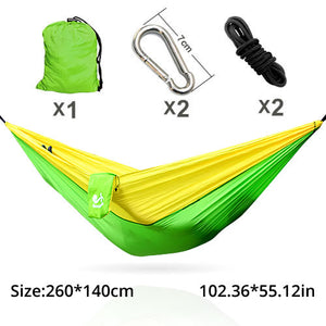 Double Camping Hammock - Lightweight Nylon Portable Hammock, Best Parachute Double Hammock for Backpacking, Camping, Travel, Beach, Yard.