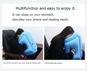 Middle Seat Comfort- New Inflatable Innovative Pillow Perfect For Travelling Full Chin Support For Flights, Cars, Trains, Kids Etc...