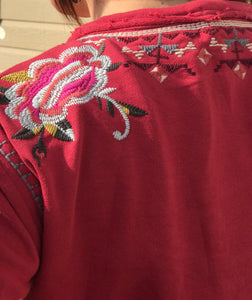 Embroidered pull over