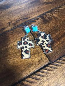 Cross cheetah earrings