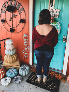 Ever so cozy twist sweater {burgundy} {reversible}