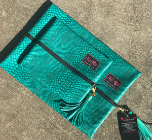 Turquoise cobra makeup junkie bag