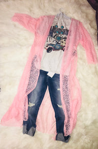 Pink lace duster with side slit