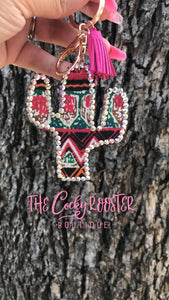Pink/red cactus keychain