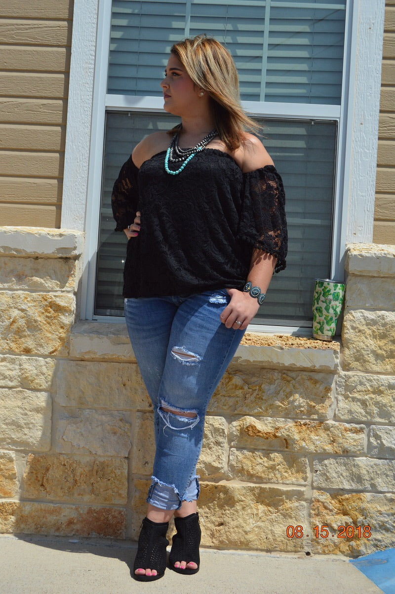 Off the shoulder black top