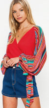 Load image into Gallery viewer, Red serape sleeve crop top