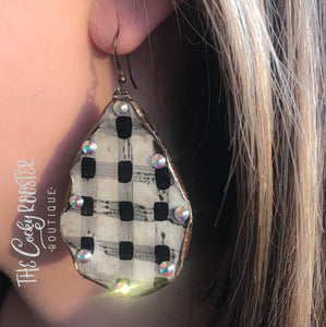 Lumberjack buffalo plaid earrings
