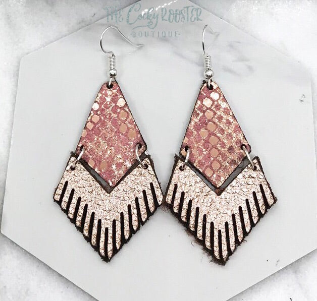 Rose gold and pink snake fringe earrings