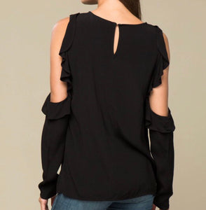 Bristol open shoulder ruffle sleeve top