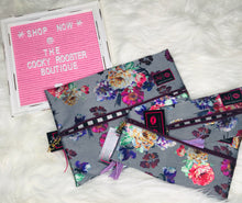 Load image into Gallery viewer, Metallic floral Makeup junkie bag